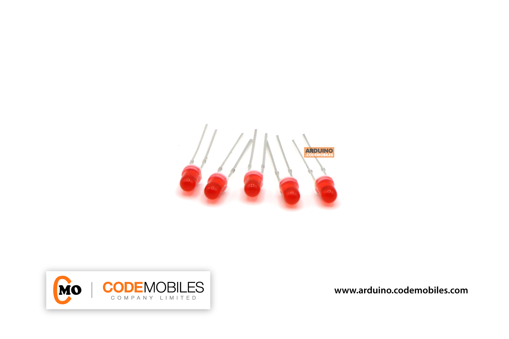 LED 3mm แบบใส สีแดง จำนวน 5 ชิ้น