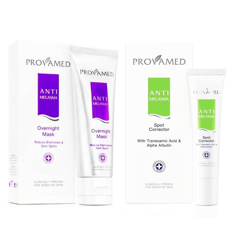 Provamed anti melasma overnight mask 50 ml คู่กับ Provamed anti melasma spot corrector 25 ml