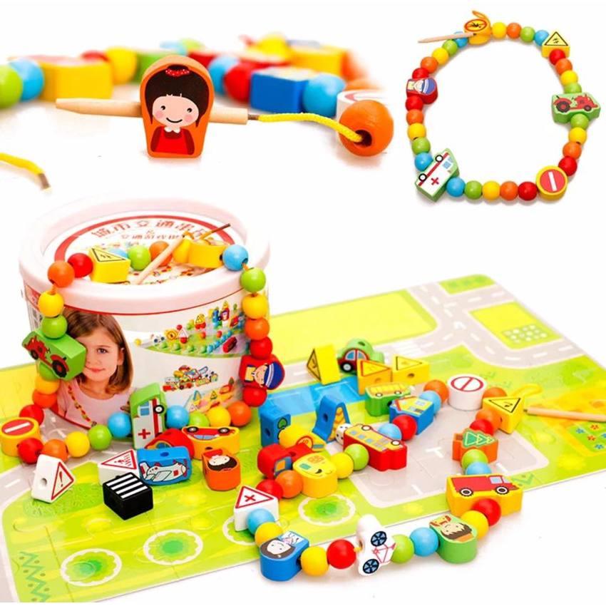 SK-Toys ร้อยเชือกลูกปัด 80 ชิ้นพร้อมจิ๊กซอว์ต่อเป็นพื้นเมือง 2 ลายเก็บในกระป๋อง