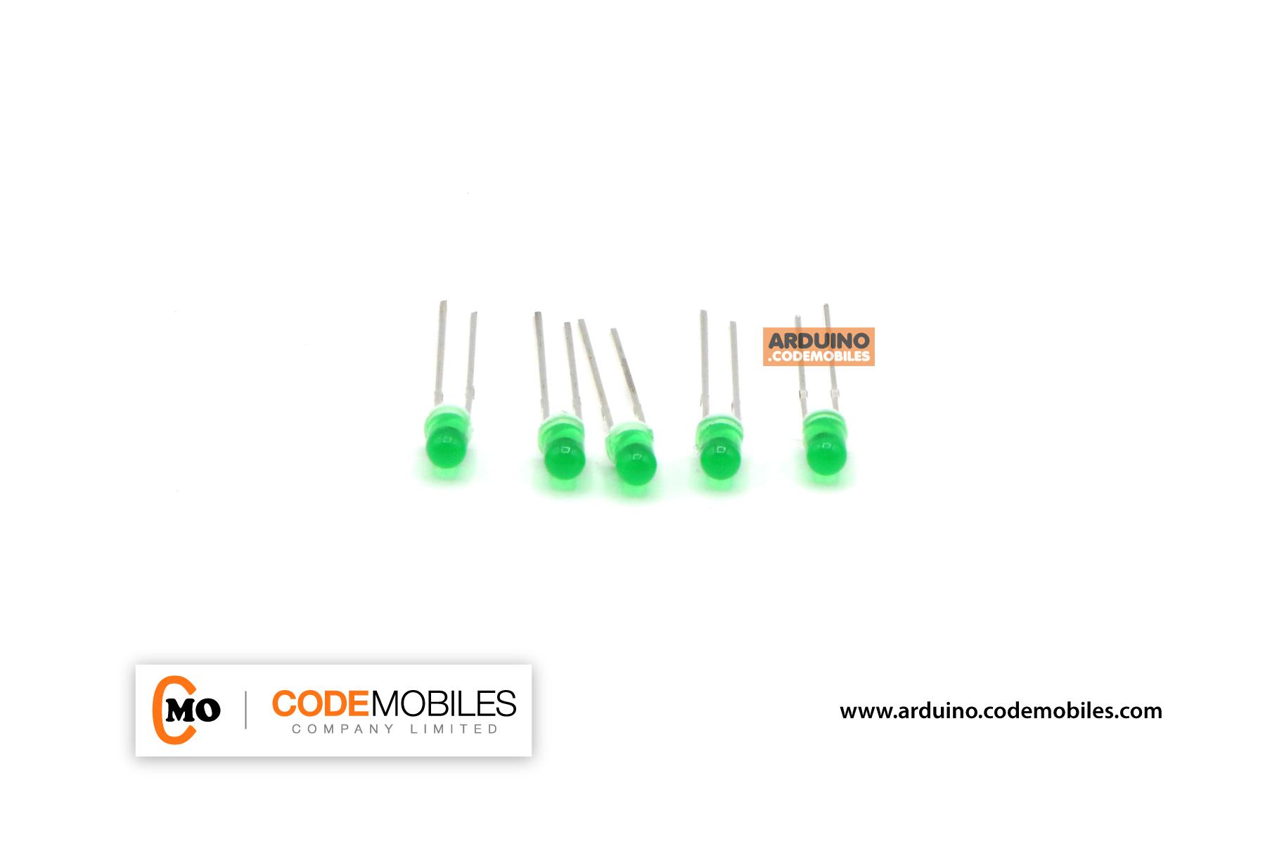 LED 3mm สีเขียว จำนวน 5 ชิ้น