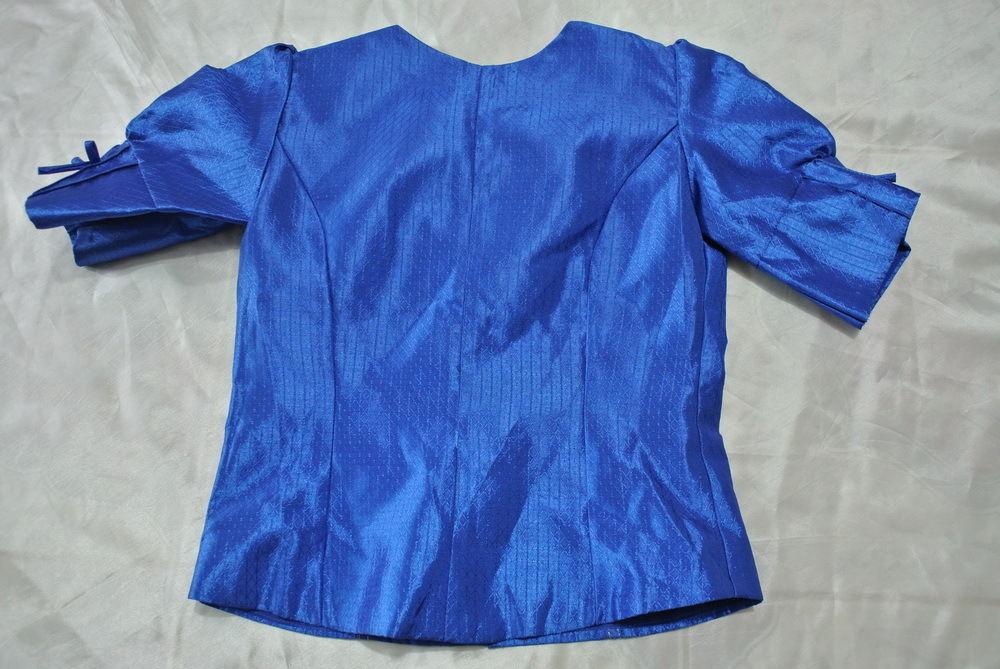 Blue Lao Laos Silk Blouse Short Sleeve Skirt Girl Size 8 Chest 28