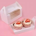 กล่องใส่คัพเค้ก 2 หลุม กล่องขาวแบบหูหิ้ว ด้านหน้าใส 5 กล่อง BAKE162