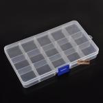 กล่องใส่อุปกรณ์พลาสติก ขนาดเล็ก แบบปรับเลื่อนได้ 15 ช่อง
