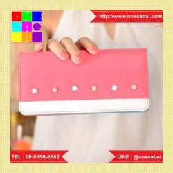 W Long Glass Red Pink กระเป๋าสตางค์ผู้หญิง แบบสั้น