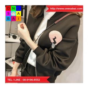 เสื้อคลุมกันหนาว แขนยาว ซิปหน้า ลาย VIVI สีดำ