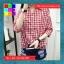 เสื้อแฟชั่น คอวี ปกเชิ๊ต แขน4ส่วน ชายเย็บเก๋ๆ ลายสก๊อต สีแดง thumbnail 3