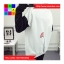 เสื้อกันหนาวแฟชั่น คอกลม แขนยาวทูโทน ลายแมวเหมียวน่ารัก สีขาว thumbnail 3