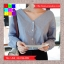 เสื้อแฟชั่น แขนยาว คอวี กระดุมหน้า ลายทาง สีฟ้า thumbnail 3