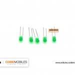 LED 3mm แบบใส สีเขียว จำนวน 5 ชิ้น